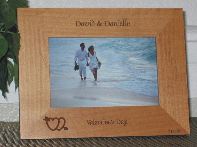 Valentine's Day Picture Frame - Personalized Frame - Laser Engraved Hearts