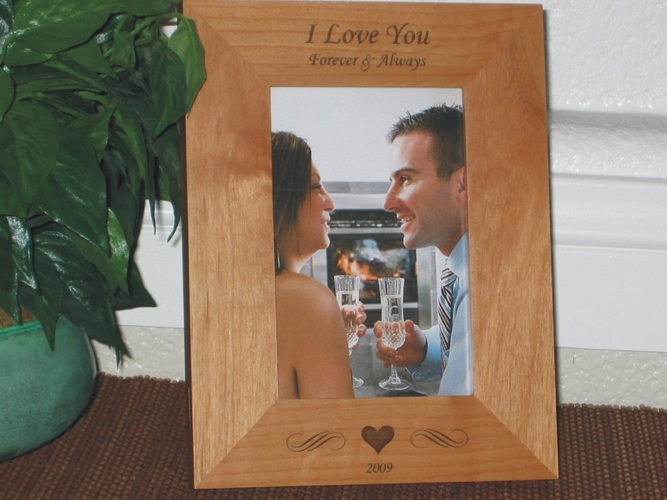 Valentines Day  Picture Frame - Personalized Frame - Laser Engraved Heart