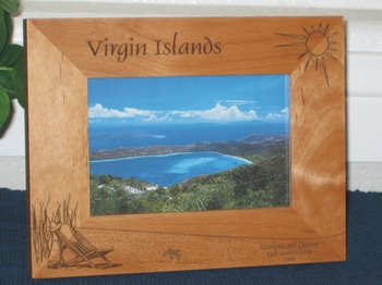 Virgin Islands Picture Frame _ Personalized Frame - Laser Engraved Beach Theme