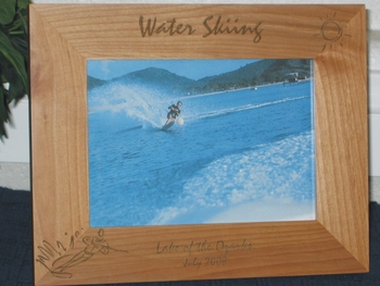 Water Skiing Picture Frame - Personalized Frame - Laser Engraved Water Skier
