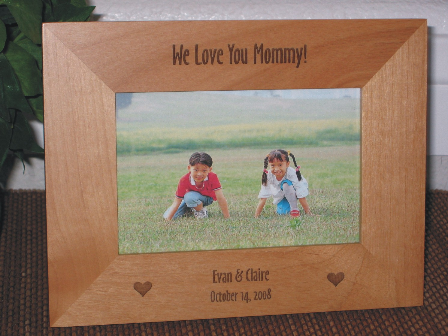 We Love Mom Picture Frame Personalized Frame Laser Engraved Hearts