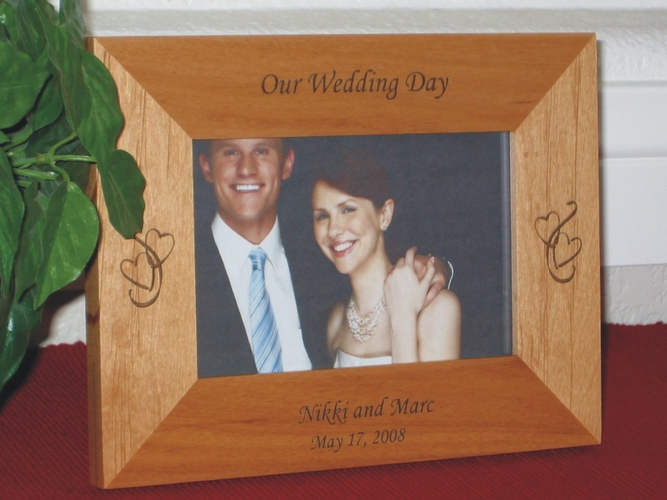 Wedding Picture Frame - Personalized Frame - Laser Engraved Hearts