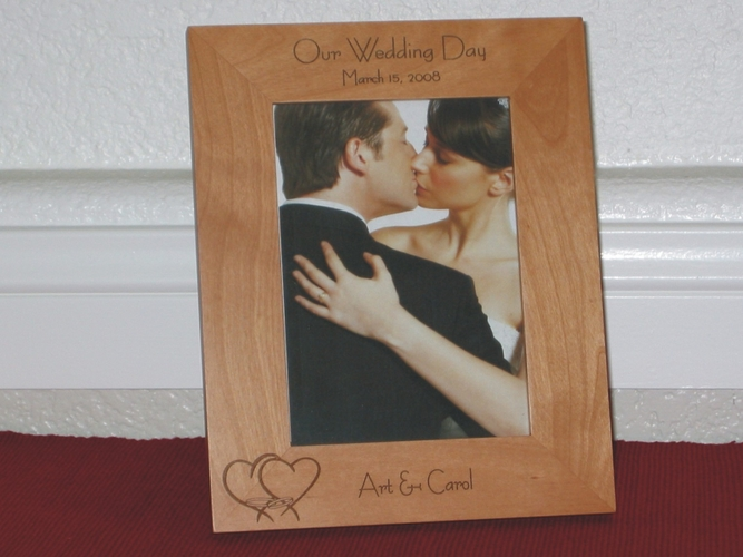 Wedding Picture Frame - Personalized Frame - Laser Engraved Hearts & Rings