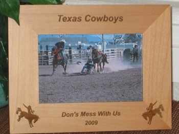Western Picture Frame - Personalized Texas Frame - Laser Engraved Cowboy