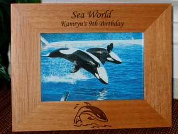 Whale Picture Frame - Personalized Frame - Laser Engraved Killer Whale