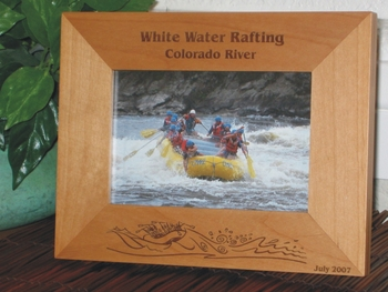 White Water Rafting Picture Frame - Personalized Frame - Laser Engraved Rafting Trip