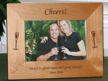 Wine Picture Frame - Personalized Frame - Laser Engraved Wine Glasses