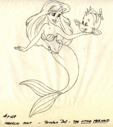 Ariel Porcelain Doll Drawing w/ Flounder