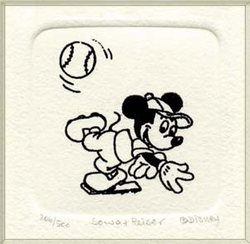 B&W Etching of Mickey<br> Mouse throwing a baseball.