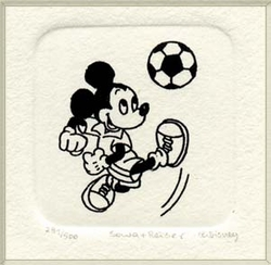 B&W Etching of Mickey <br>Mouse with a Soccer Ball