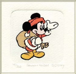 Color Etching of Mickey<br> Mouse as Santa