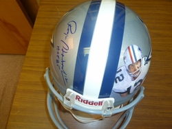 Dallas Cowboys Pro Helmet with  <br> Hand Painted Image And Signed Of Roger Staubach