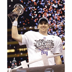 Eli Manning Hand Signed <br>Super Bowl Trophy Photo