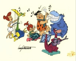 Flintstones playing Instruments <br> signed sericel
