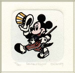 Mickey Mouse in a <br>Suit Dancing Color Etching