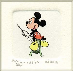 Mickey Mouse on<br> a Stool Color Etching
