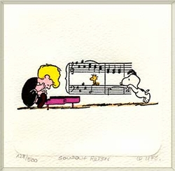 Schroeder, Snoopy, &<br> Woodstock Small Etching