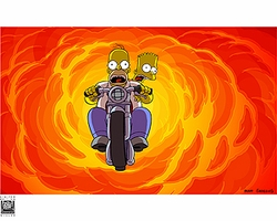 Simpsons Movie Bart & Homer on Bike