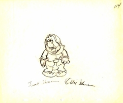 "Sneezy  from ""Snow White""(1937)<br> Signed Prod Drawing#114"