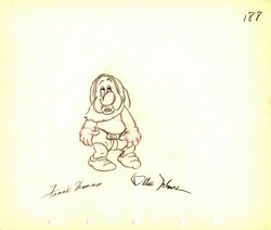 "Sneezy  from ""Snow White""(1937)<br> Signed Prod Drawing #188"