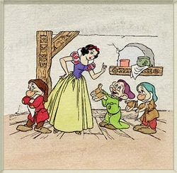Snow White & 3 Dwarfs<br> Large Color Etching