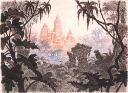 The Towers of the Ancient City Rising above the Jungle Litho
