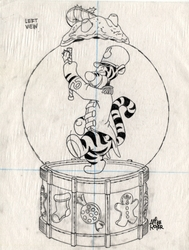 Tigger Marching in Snow globe Left view