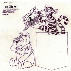 Tigger pouring Hunny on Pooh