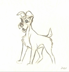 """Tramp"" - Lady and the Tramp (1955)  <br> Original Drawing"