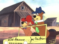 Yogi and Boo Boo on Jeep Production Cel (1980's) - Yogi Bear
