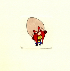 Yosemite Sam Scratching <br>His Head Small Etching