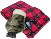 12 Volt Heated Fleece Travel Blanket & Fur Ice Scraper Set