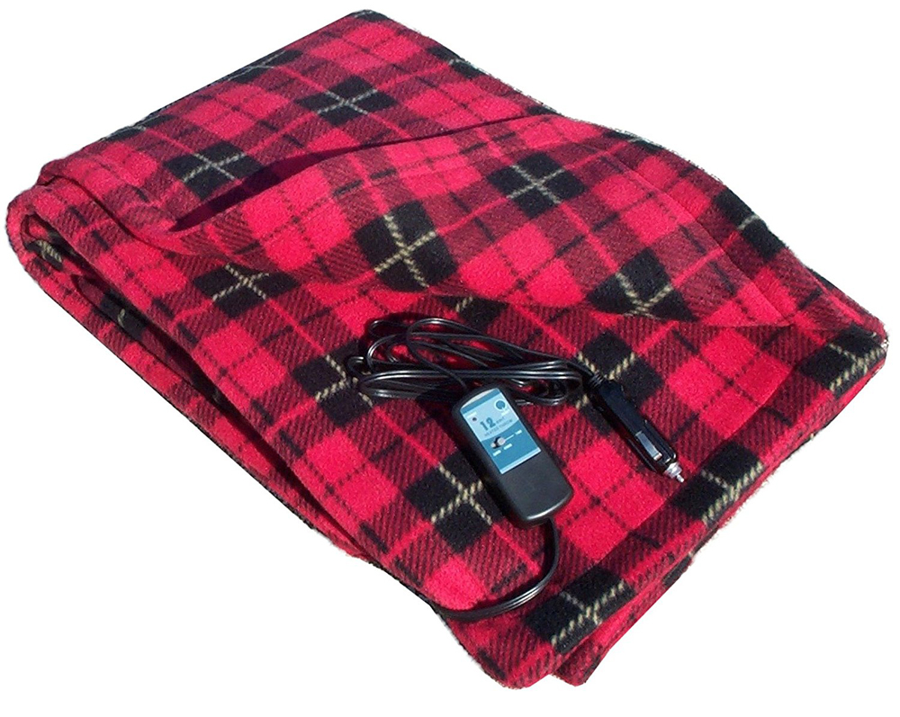Image of 12 Volt Red Plaid Heated Fleece Travel Blanket
