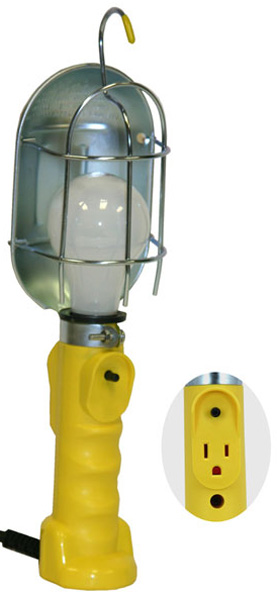 Bayco Metal Shield Incandescent Utility Light w/Tool Tap (25 Ft. Cord)