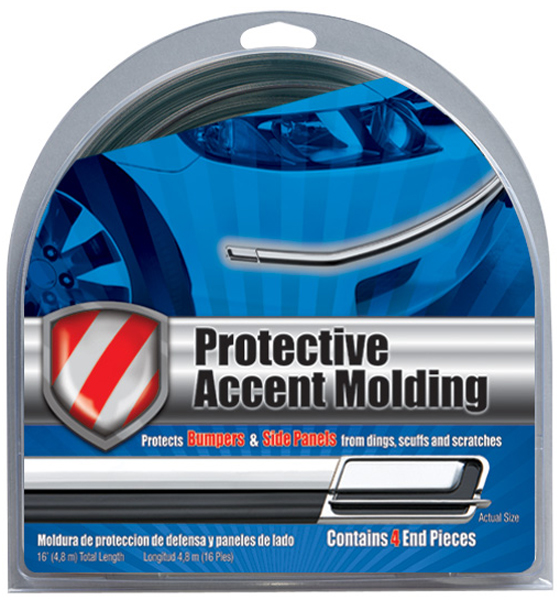 "Image of Black/Chrome Protective Accent Molding 1-1/8"" Wide"