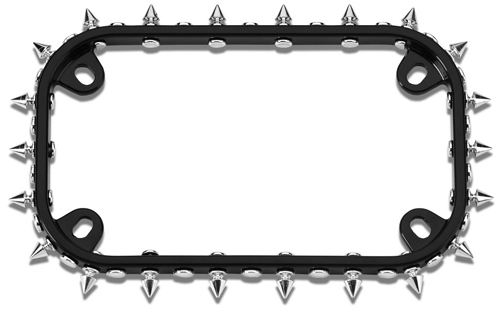 black  chrome spikes motorcycle license plate frame