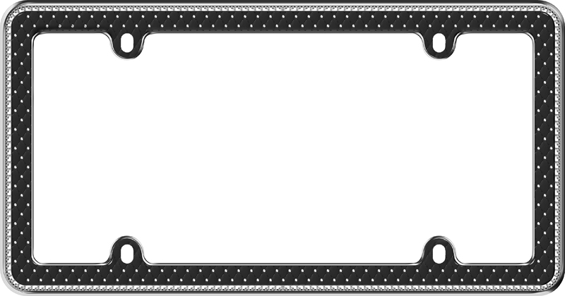 Image of Button Tuck Bling Black License Plate Frame