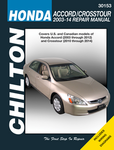 Chilton Repair Manual For Honda Accord & Crosstour (2003-2014)