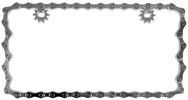 Chrome Bike Chain Metal License Plate Frame - CUS92762