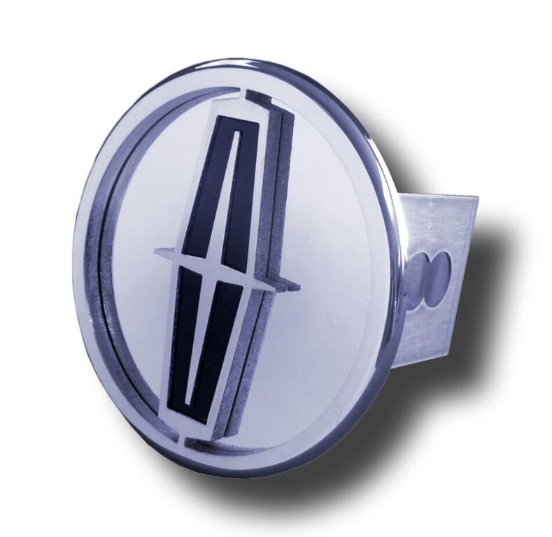 Image of Chrome Lincoln Black Logo Stainless Steel Hitch Plug