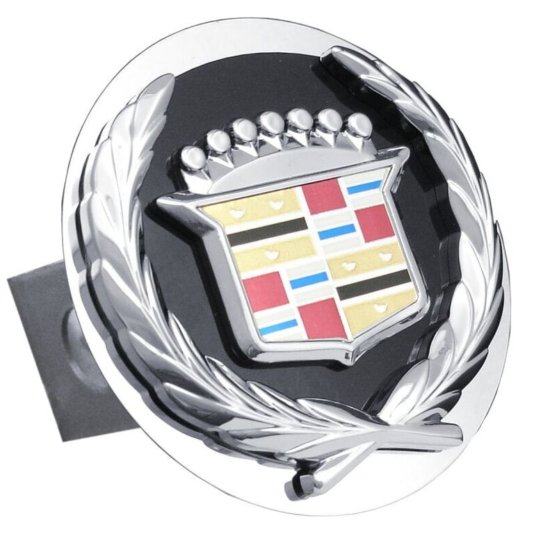 Chrome Old Cadillac Logo Black Fill Stainless Steel Hitch Plug