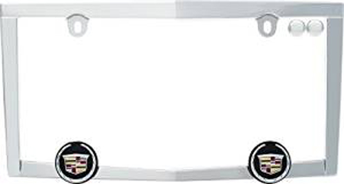 Chrome Plated Cadillac Crested License Plate Frame - CRU10330