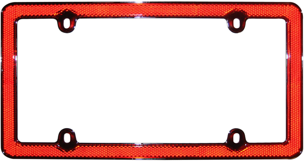 Chrome & Red Reflective License Plate Frame - CRU30436
