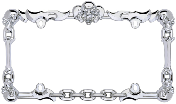 chrome skull  u0026 bones license plate frame