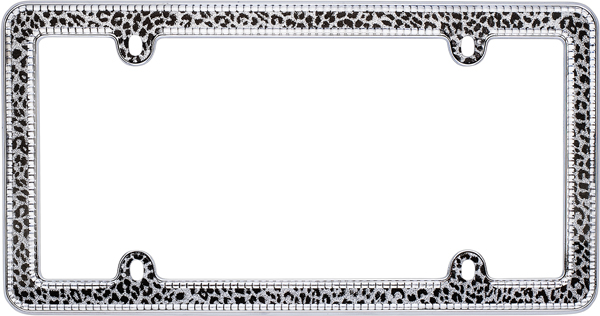 Chrome Snow Leopard Bling License Plate Frame - CRU18513