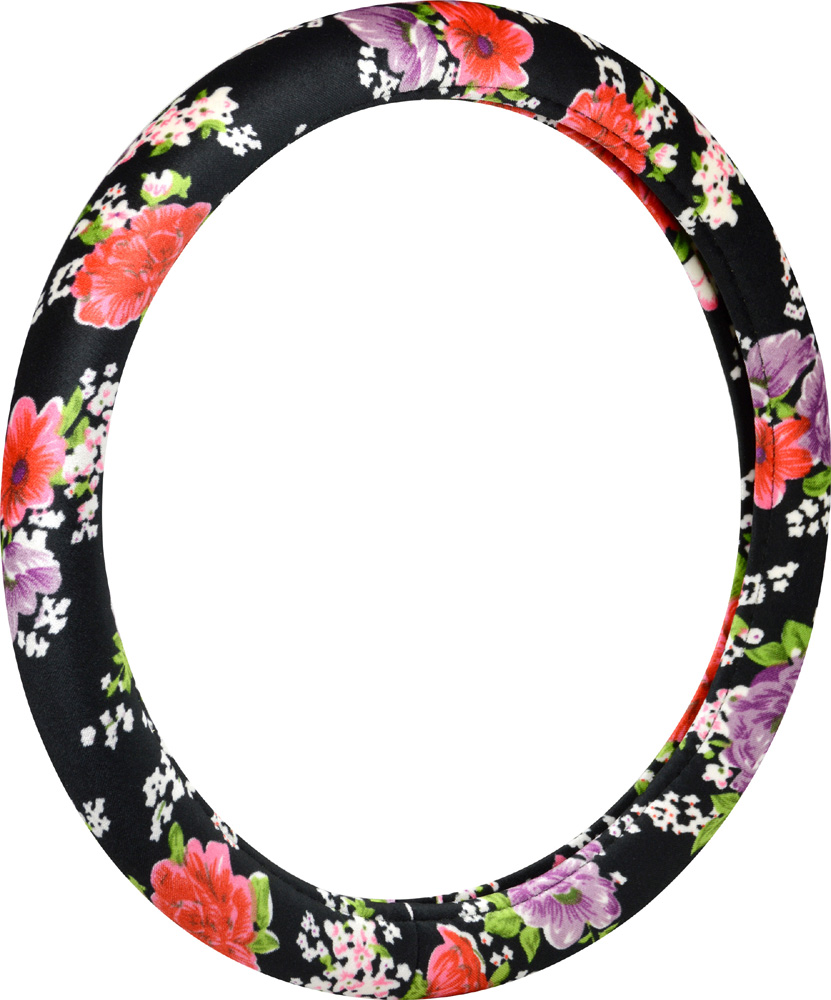 Image of Classic Floral Design Steering Wheel Cover