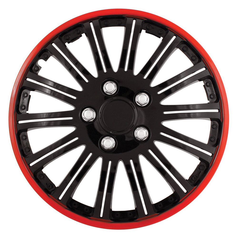 "Cobra Black Chrome 16"" Wheel Cover with Red Accent Set of 4"