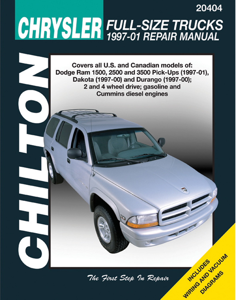 Dodge Ram 1500 2500 3500 Dakota & Durango Chilton Repair Manual (1997-2001)