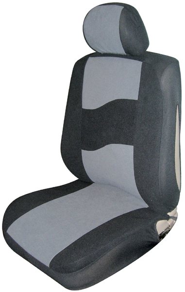 Image of Gray Low Back Side Air Bag Bucket Seat Cover (Pair)