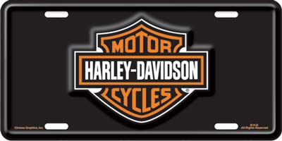 harley davidson bar & shield logo stamped metal auto tag - xxx1846